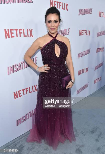 Alyssa Milano attends the Season 1 premiere of Netflix's 'Insatiable' at ArcLight Hollywood on August 9 2018 in Hollywood California