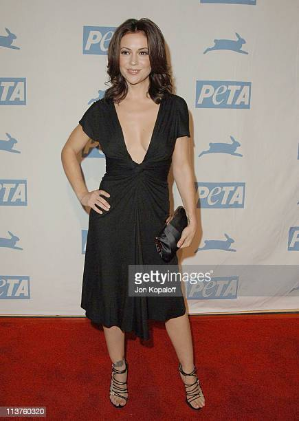 Alyssa Milano during 25th Anniversary Gala for PETA and Humanitarian Awards Arrivals at Paramount Pictures in Hollywood California United States