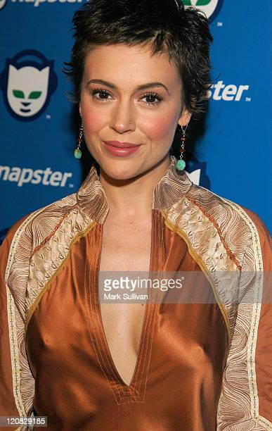 Alyssa Milano during Celebrate The Launch of Napster 20 Arrivals at House of Blues in West Hollywood California United States