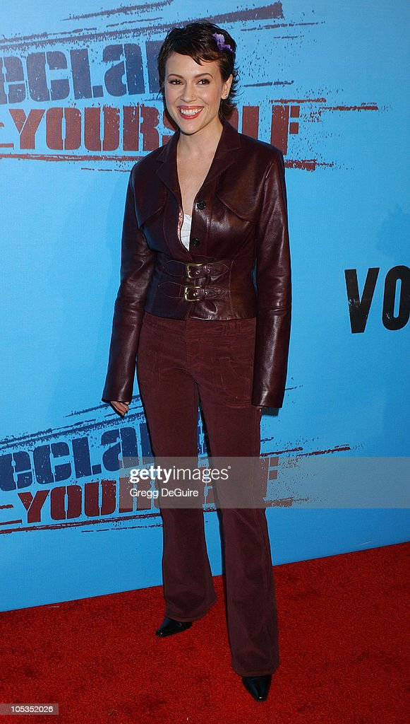 Alyssa Milano during Celebrities Supporting 'Declare Yourself': A National Nonpartisan, Nonprofit Campaign Inspiring Young Adults To Participate In The 2004 Election at Historic Beverly Hills Post Office in Beverly Hills, California, United States.