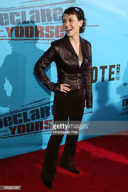 Alyssa Milano during Declare Yourself A Nonpartisan Young Voter Campaign at Historic Beverly Hills Post Office in Beverly Hills California United...