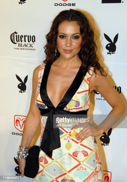 Alyssa Milano during Playboy's 8th Annual Super Saturday Night at American Airlines Arena in Miami Florida United States