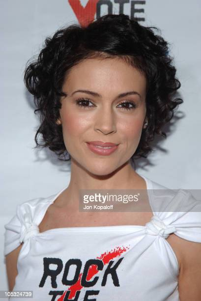 Alyssa Milano during 'Rock The Vote' 2004 National Bus Tour Arrivals at Avalon Hollywood in Hollywood California United States