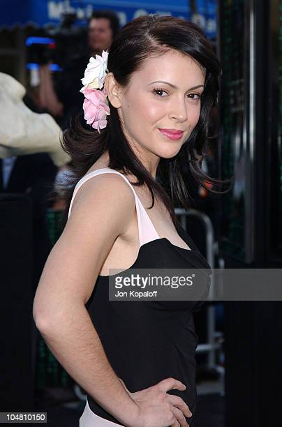Alyssa Milano during 'The Matrix Reloaded' Premiere Arrivals at The Mann Village Theater in Westwood California United States
