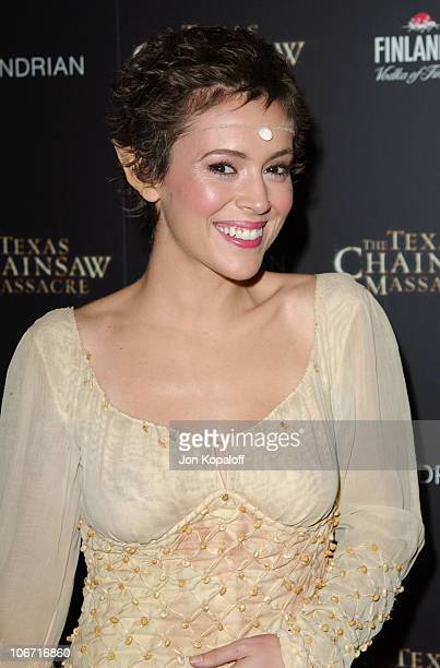 Alyssa Milano during The Texas Chainsaw Massacre Halloween Party At The Mondrian Hotel at Sky Bar At The Mondrian Hotel in West Hollywood California...