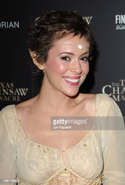 Alyssa Milano during 'The Texas Chainsaw Massacre' Halloween Party At The Mondrian Hotel at Sky Bar At The Mondrian Hotel in West Hollywood...