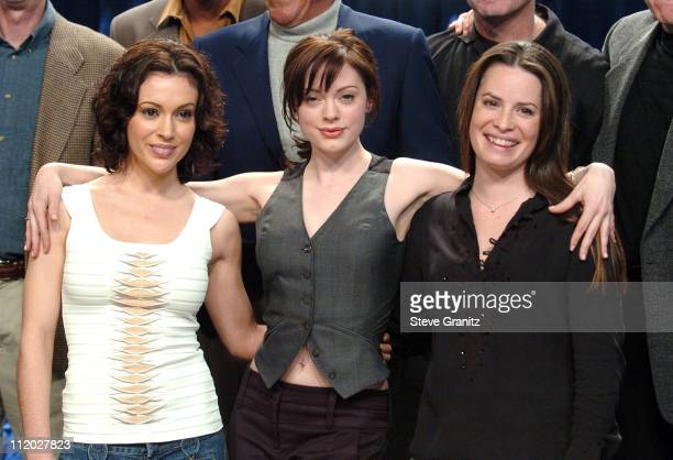 Alyssa Milano Rose McGowan and Holly Marie Combs during 'Charmed' Celebrates 150 Episodes and First Season on DVD at Paramount Studios in Los Angeles...