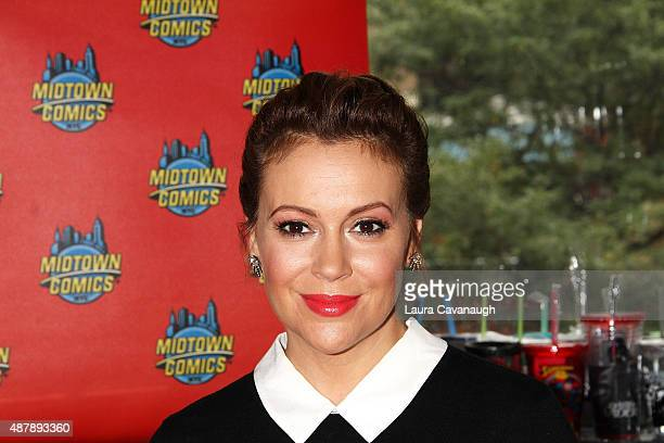Alyssa Milano signs copies of her Comic Book 'Hackitvist Vol 2' at Midtown Comics on September 12 2015 in New York City