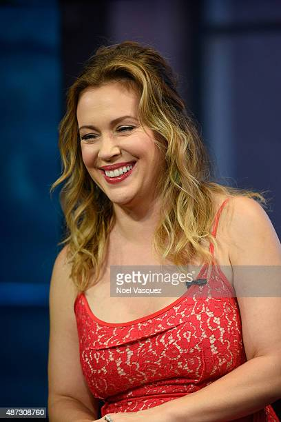 Alyssa Milano visits Extra at Universal Studios Hollywood on September 8 2015 in Universal City California