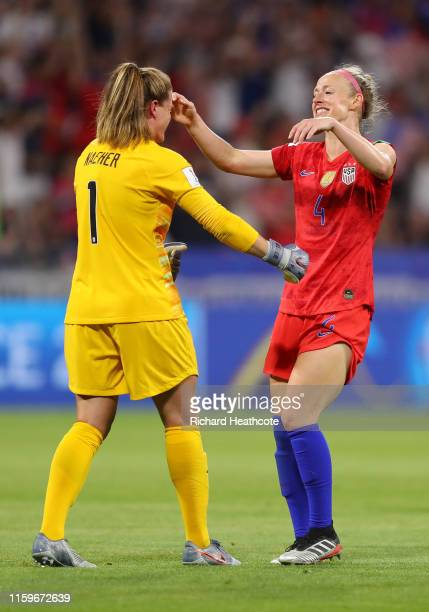 Alyssa Naeher and Becky Sauerbrunn of the USA celebrate following their sides victory in the 2019 FIFA Women's World Cup France Semi Final match...