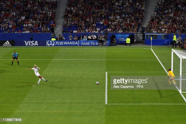 Alyssa Naeher goalkeeper of the USA saves a penalty from Steph Houghton of England during the 2019 FIFA Women's World Cup France Semi Final match...