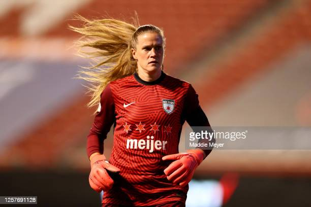 Alyssa Naeher of Chicago Red Stars looks on against the Sky Blue FC during the second half in the semifinal match of the NWSL Challenge Cup at Rio...