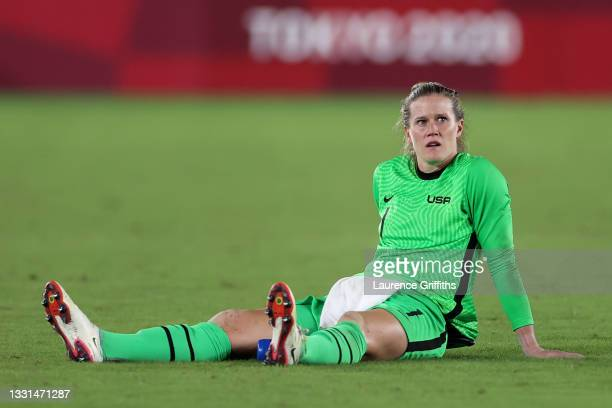Alyssa Naeher of Team United States looks on after the Women's Quarter Final match between Netherlands and United States on day seven of the Tokyo...