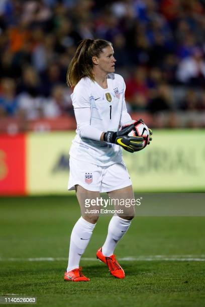 Alyssa Naeher of the United States in action during an international friendly against Australia at Dick's Sporting Goods Park on April 4 2019 in...