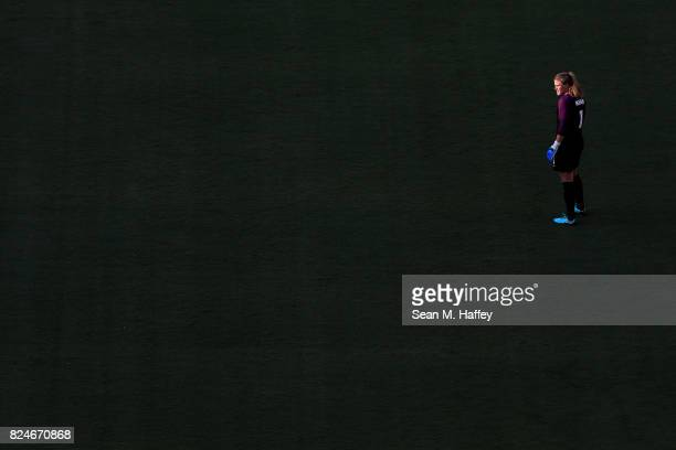 Alyssa Naeher of the United States looks on during the second half of a match against Brasil in the 2017 Tournament of Nations at Qualcomm Stadium on...