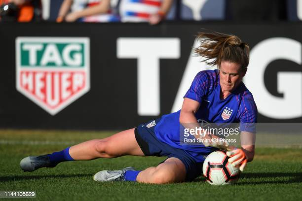 Alyssa Naeher of the United States prior to an international friendly between the women's national teams of the United States and New Zealand on May...