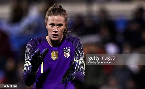 Alyssa Naeher of The United States reacts during the Women's International Friendly match between Spain and The United States at Estadio Jose Rico...
