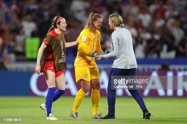 Alyssa Naeher of the USA and Jill Ellis Head Coach of USA celebrate following their sides victory in the 2019 FIFA Women's World Cup France Semi...