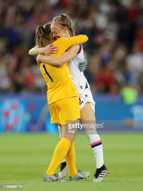 Alyssa Naeher of the USA celebrates victory with Becky Sauerbrunn of the USA after the 2019 FIFA Women's World Cup France Quarter Final match between...