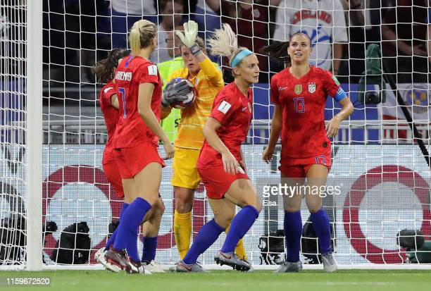 Alyssa Naeher of the USA celebrates with teammates after saving a penalty during the 2019 FIFA Women's World Cup France Semi Final match between...