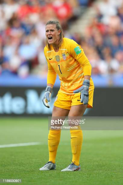 Alyssa Naeher of the USA in action during the 2019 FIFA Women's World Cup France Quarter Final match between France and USA at Parc des Princes on...