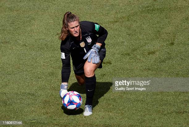 Alyssa Naeher of the USA in action during the 2019 FIFA Women's World Cup France Final match between The United States of America and The Netherlands...