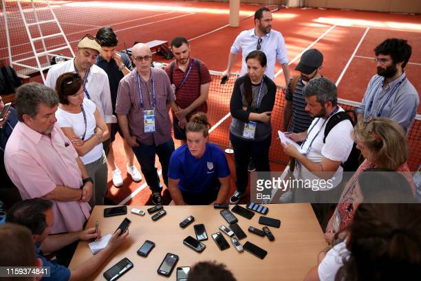 Alyssa Naeher of the USA speaks to the media during the USA Media Access at Hotel Lyon Metropole on July 01 2019 in Lyon France
