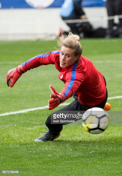 Alyssa Naeher of the USWNT warms up before a She Believes Cup match between the USWNT and France on March 04 at Red Bull Arena in Harrison NJ The...
