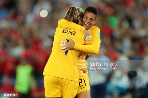 Alyssa Naeher of USA and Adrianna Franch of USA celebrate at full time during the 2019 FIFA Women's World Cup France Quarter Final match between...