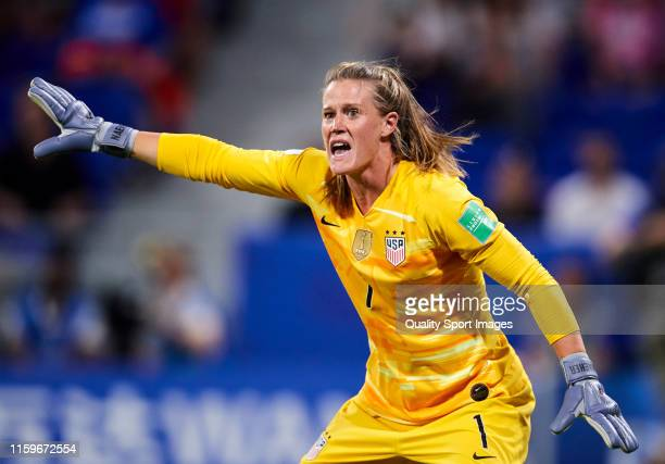Alyssa Naeher of USA during the 2019 FIFA Women's World Cup France Semi Final match between England and USA at Stade de Lyon on July 02 2019 in Lyon...
