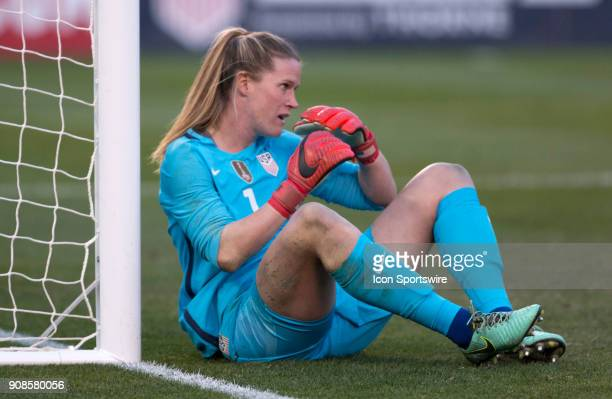 Alyssa Naeher of USA lets in an early goal during the international friendly game between US Women's National team and Denmark Women's team held...