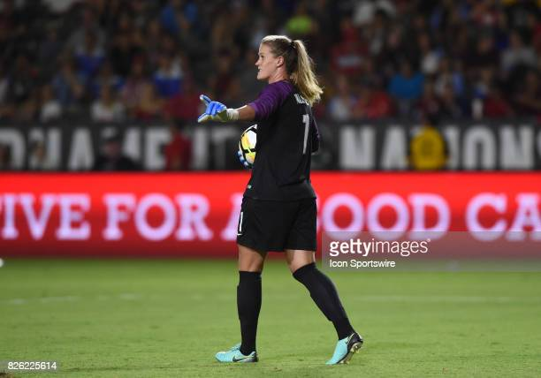Alyssa Naeher of USA looks to pass the ball during the Tournament of Nations soccer match between USA and Japan on August 03 2017 at StubHub Center...