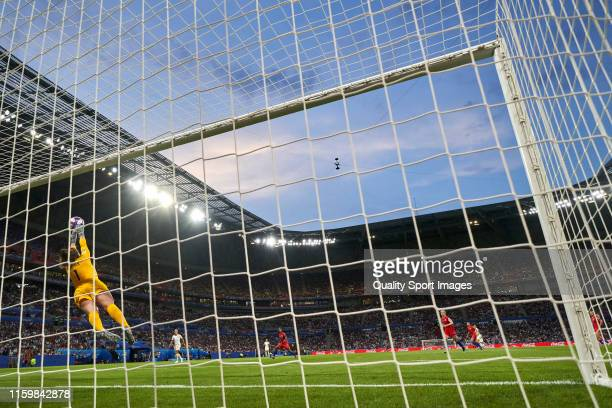 Alyssa Naeher of USA makes a save during the 2019 FIFA Women's World Cup France Semi Final match between England and USA at Stade de Lyon on July 02...