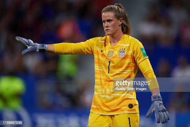 Alyssa Naeher of USA reacts during the 2019 FIFA Women's World Cup France Semi Final match between England and USA at Stade de Lyon on July 02 2019...