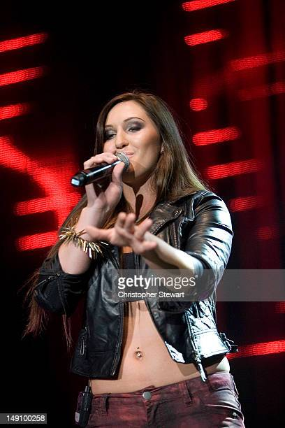 Alyssa Reid performs on stage during Key 103 Live at Manchester Arena on July 22 2012 in Manchester United Kingdom