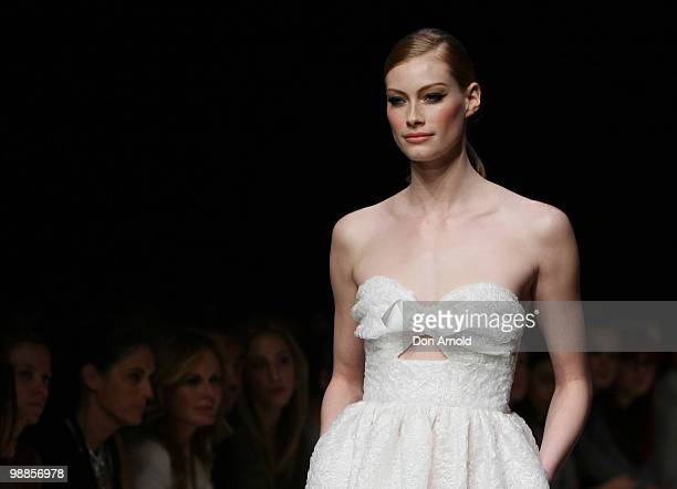 Alyssa Sutherland showcases designs on the catwalk at the Jayson Brunsdon collection show on the third day of Rosemount Australian Fashion Week...
