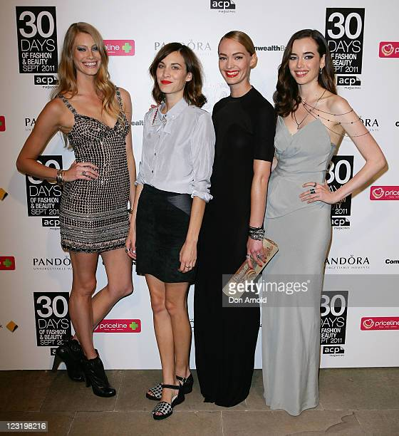 Alyssa SutherlandAlexa Chung Heidi HarringtonJohnson and Sarah Stephenson pose during the launch of ACP's 30 Days of Fashion and Beauty at 'Swifts'...