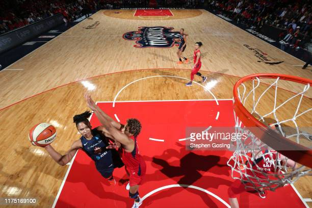 Alyssa Thomas of Connecticut Sun shoots the ball against the Washington Mystics during Game Five of the 2019 WNBA Finals on October 10 2019 at the...