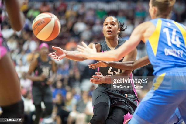 Alyssa Thomas of the Connecticut Sun defended by Allie Quigley of the Chicago Sky during the Connecticut Sun Vs Chicago Sky WNBA regular season game...