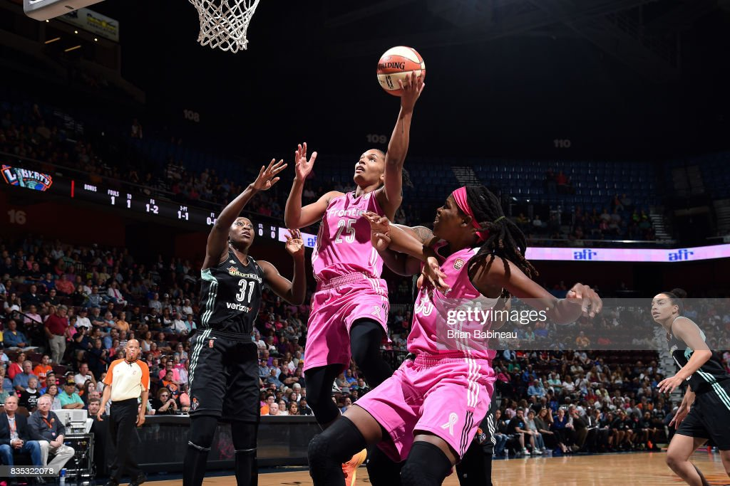 Alyssa Thomas #25 of the Connecticut Sun goes for a lay up during the game against the New York Liberty on August 18, 2017 at the Mohegan Sun Arena in Uncasville, Connecticut.