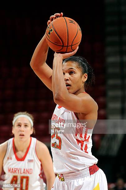 Alyssa Thomas of the Maryland Terrapins shoots a free throw against the Delaware State Hornets at the Comcast Center on December 14 2013 in College...