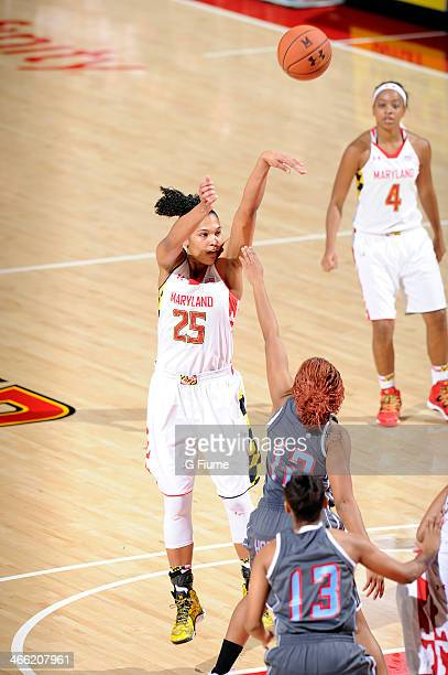 Alyssa Thomas of the Maryland Terrapins shoots the ball against the Delaware State Hornets at the Comcast Center on December 14 2013 in College Park...