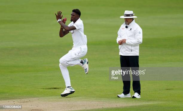 Alzarri Joseph of the West Indies bowls during day two of the 1st #RaiseTheBat Test match at The Ageas Bowl on July 09 2020 in Southampton England