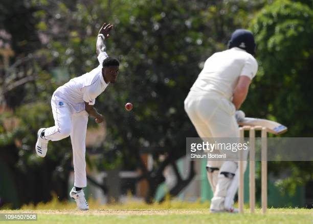 Alzarri Joseph of West Indies Board XI bowls to Jonny Bairstow of England during day one of the match between West Indies Board XI and England at the...