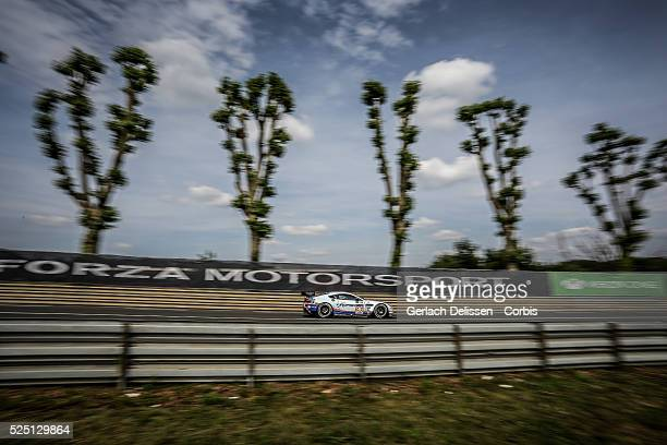 Am class Aston Martin Racing Aston Martin Vantage V8 of Roald Goethe, Stuart Hall and Francesco Castellacci in action during the 83rd running of the...