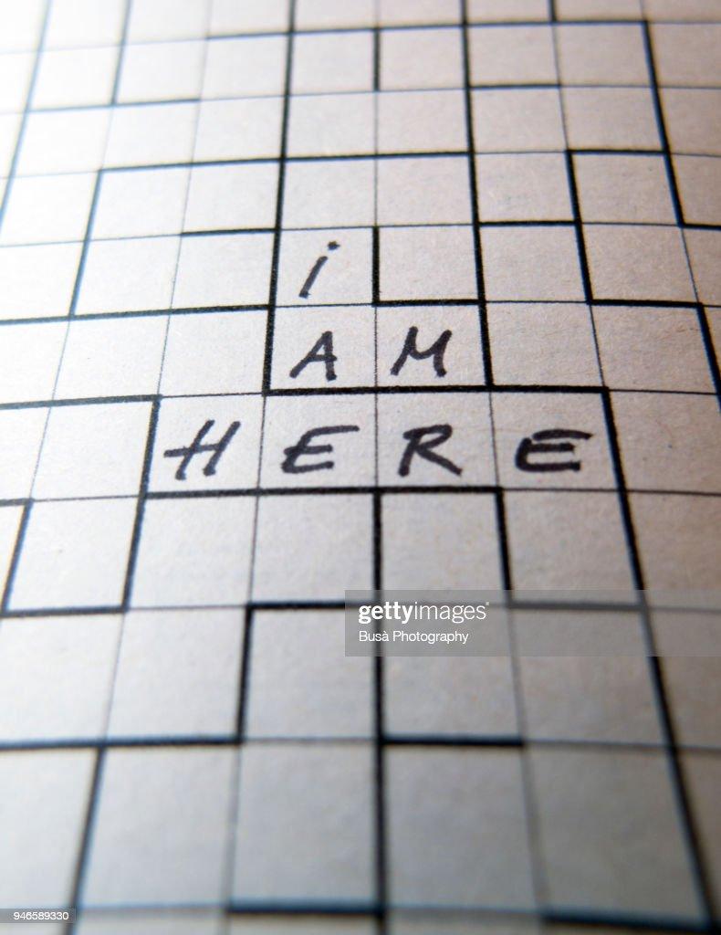 """I am here"", maze puzzle concept : Stock Photo"