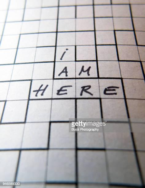 'I am here', maze puzzle concept