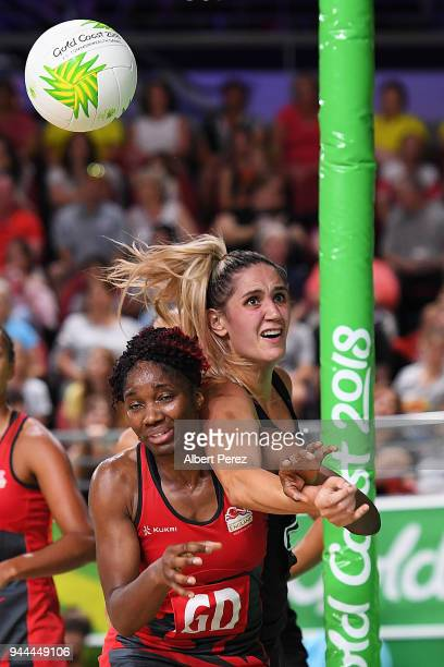 Ama Agbeze of England and Michaela SokolichBeatson of New Zealand compete for the ball during Netball match between New Zealand and England on day...