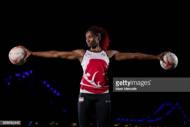 Ama Agbeze poses during a Team England media opportunity ahead of the 2018 Gold Coast Commonwealth Games, at All Hallows School on March 29, 2018 in...
