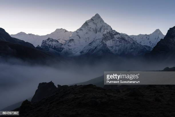 Ama Dablam mountain peak at sunrise, Dzongla village, Everest region, Nepal